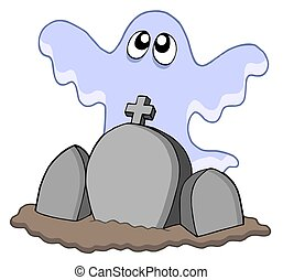 Ghost with graves - isolated illustration.