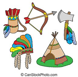 Indian collection, objects - isolated illustration.