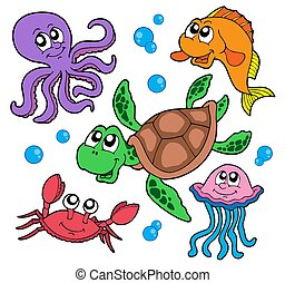Marine animals collection - isolated illustration.