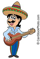 Mexican musician with guitar - isolated illustration.