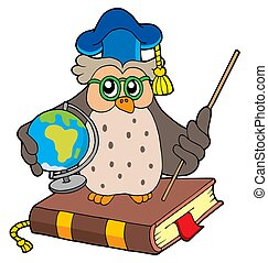 Owl teacher with globe - isolated illustration