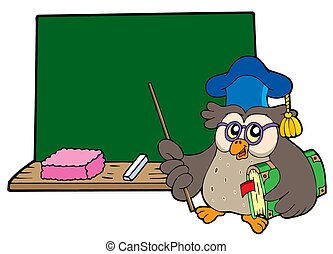 Owl teacher with book and blackboard