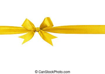 handmade yellow ribbon bow horizontal border, isolated