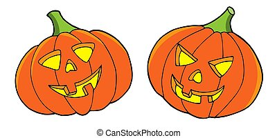 Pair of Halloween pumpkins - Pair of halloween pumpkins -...