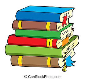 Pile of various color books - isolated illustration.