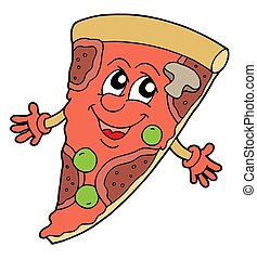 Pizza with smiling face - isolated illustration