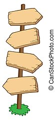 Pointing wooden signs - isolated illustration.