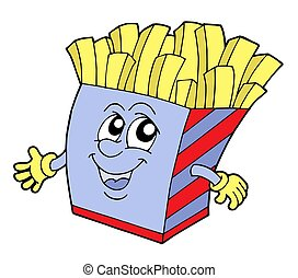 Pommes frites in box with smiling face - isolated...