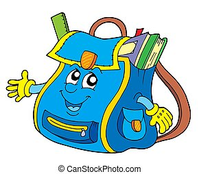 School bag on white background - isolated illustration