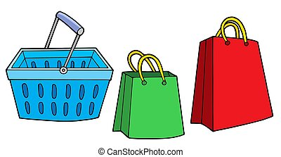 Shopping basket and bags - isolated illustration.