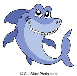 Smiling shark on white background - isolated illustration.