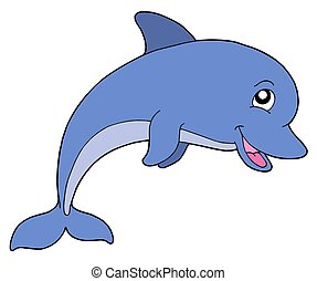 Smiling dolphine on white background - isolated illustration...