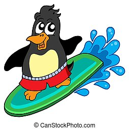 Surfing penguin on white background - isolated illustration.
