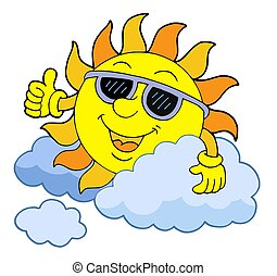 Sun with sunglasses - isolated illustration