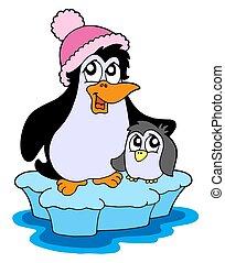 Two penguins on iceberg - isolated illustration.