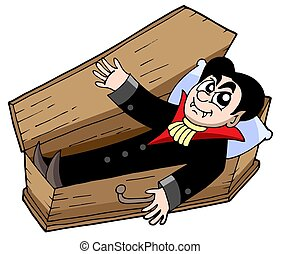 Vampire in coffin - isolated illustration.