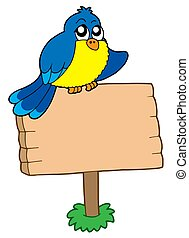 Wooden sign with sitting bird