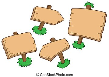 Various wooden signs - isolated illustration