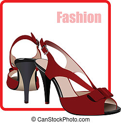 Fashion woman red shoes poster. Vec