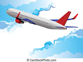 Airplane taking off Vector illustration for designers