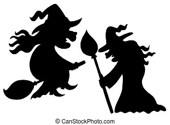 Witch silhouettes on white background - isolated...