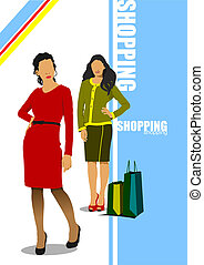 Two cute shopping ladys with bags Vector colored...