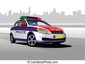 Police car on city panorama backgro