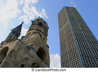 Ruins of Kaiser Wilhelm Memorial Church in Berlin destroyed...