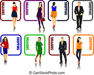 Eight shopping icons with man and woman image Vector...