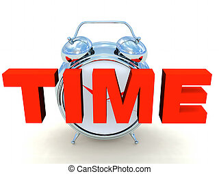 Time - the word time,alarrm clock in the back ground