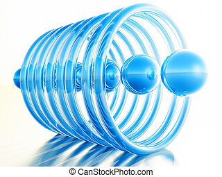 blue balls - abstract illustration,alignment of rings with...