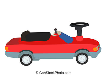 Toy car - Vector and illustration of red toy car