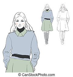 The woman model poses. The vector sketch on a white background.