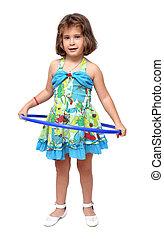 little girl with hula hoop - little girl doing exercises...