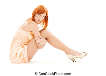 tall redhead - picture of tall redhead woman over white