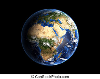Planet Earth Hi-Res - 3d image of planet Earth in high...