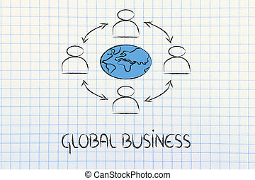 global business communication, people connected across globe...