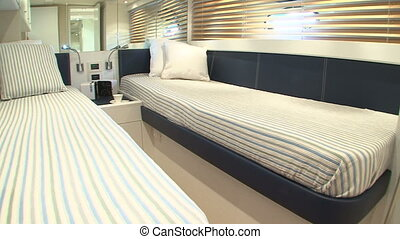 Twin beds in boat cabin