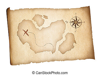 Old treasure pirates map isolated. Adventure concept.