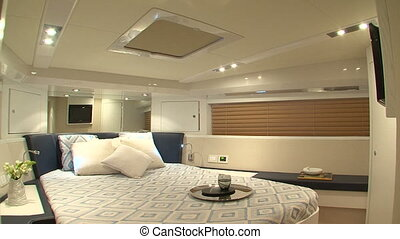 Master cabin on yacht