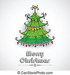 Decorated Pine Tree on Christmas card - illustration of...