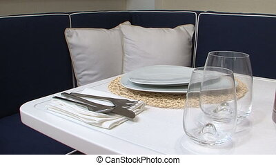 Table set for meal on a boat