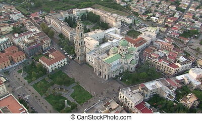 Aerial view of basilica in Pompei - Aerial view of the...