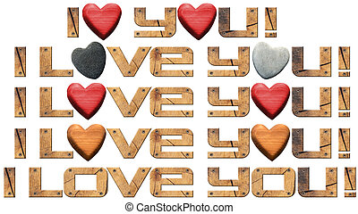 I Love You - Hearts and Wooden Letters
