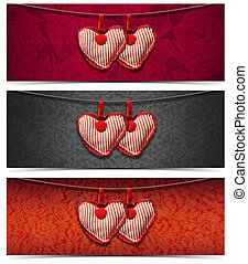 Banners with Cloth Hearts - 3 Items - Two handmade red and...