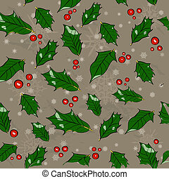 Seamless Christmas texture with holly leaves. Vector...