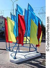 Ucrania, Muchos, nacional,  multicolor, banderas, feriado