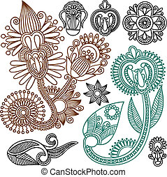 Flowers and Paisley Doodle Vector Illustration