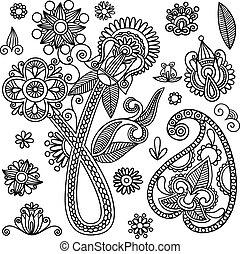 Flowers and Paisley Doodle Vector Illustration - Hand-Drawn...