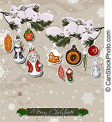 Vintage christmas decorations clip art vector graphics for Poster decoratif
